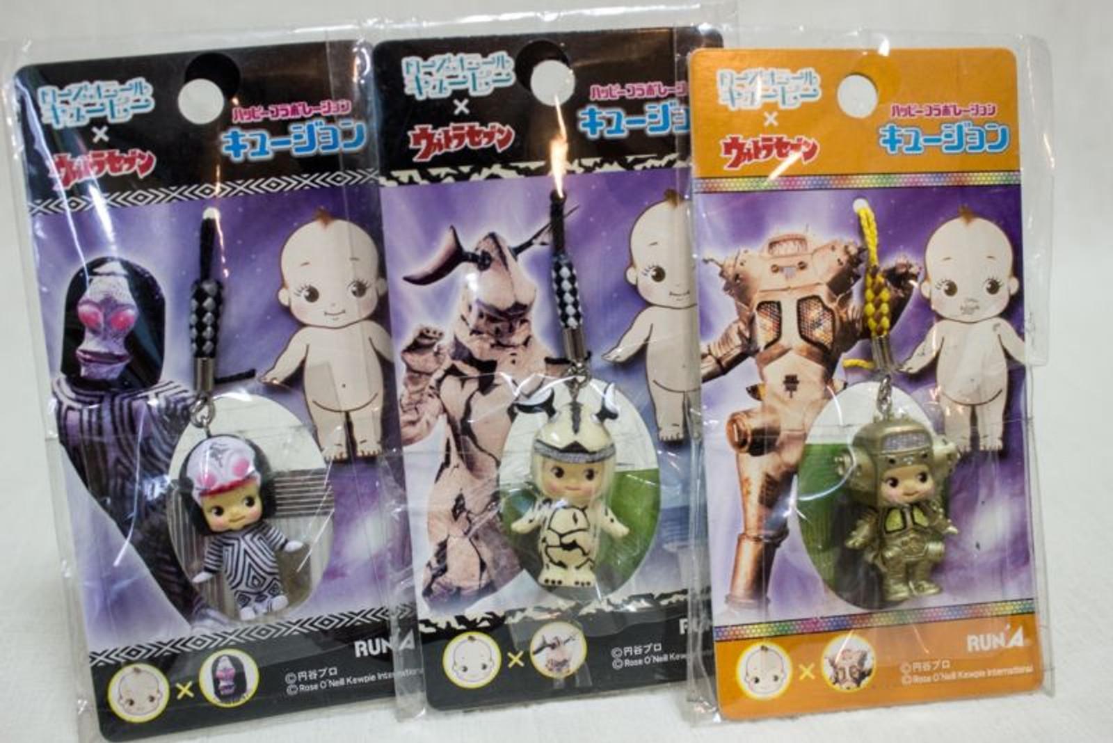Set of 3 Ultraman Alien Rose O'neill Kewpie Kewsion Strap JAPAN ANIME