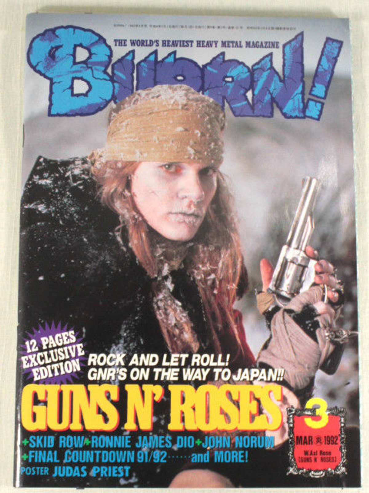 1992/03 BURRN! Japan Rock Magazine GUNS N' ROSES/SKID ROW/EUROPE/JOHN NORUM