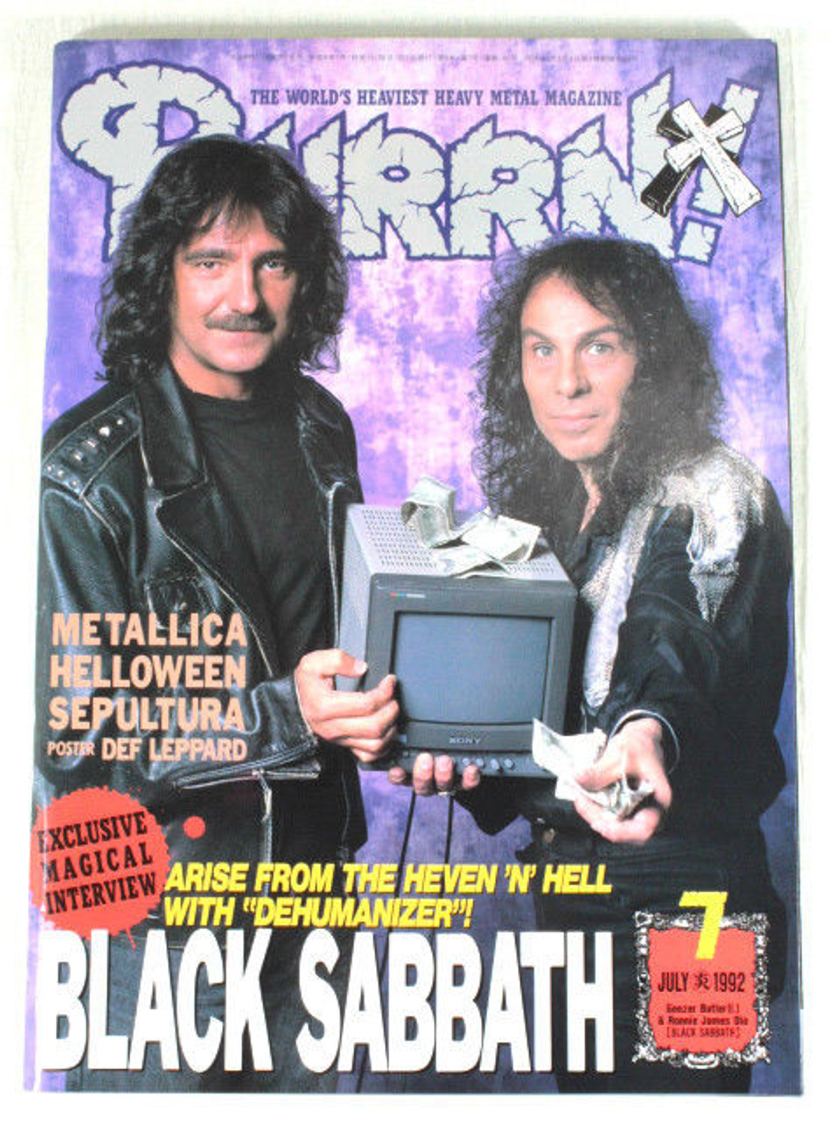 1992/07 BURRN! Japan Rock Magazine BLACK SABBATH METALLICA/SEPULTULA/EXTREME