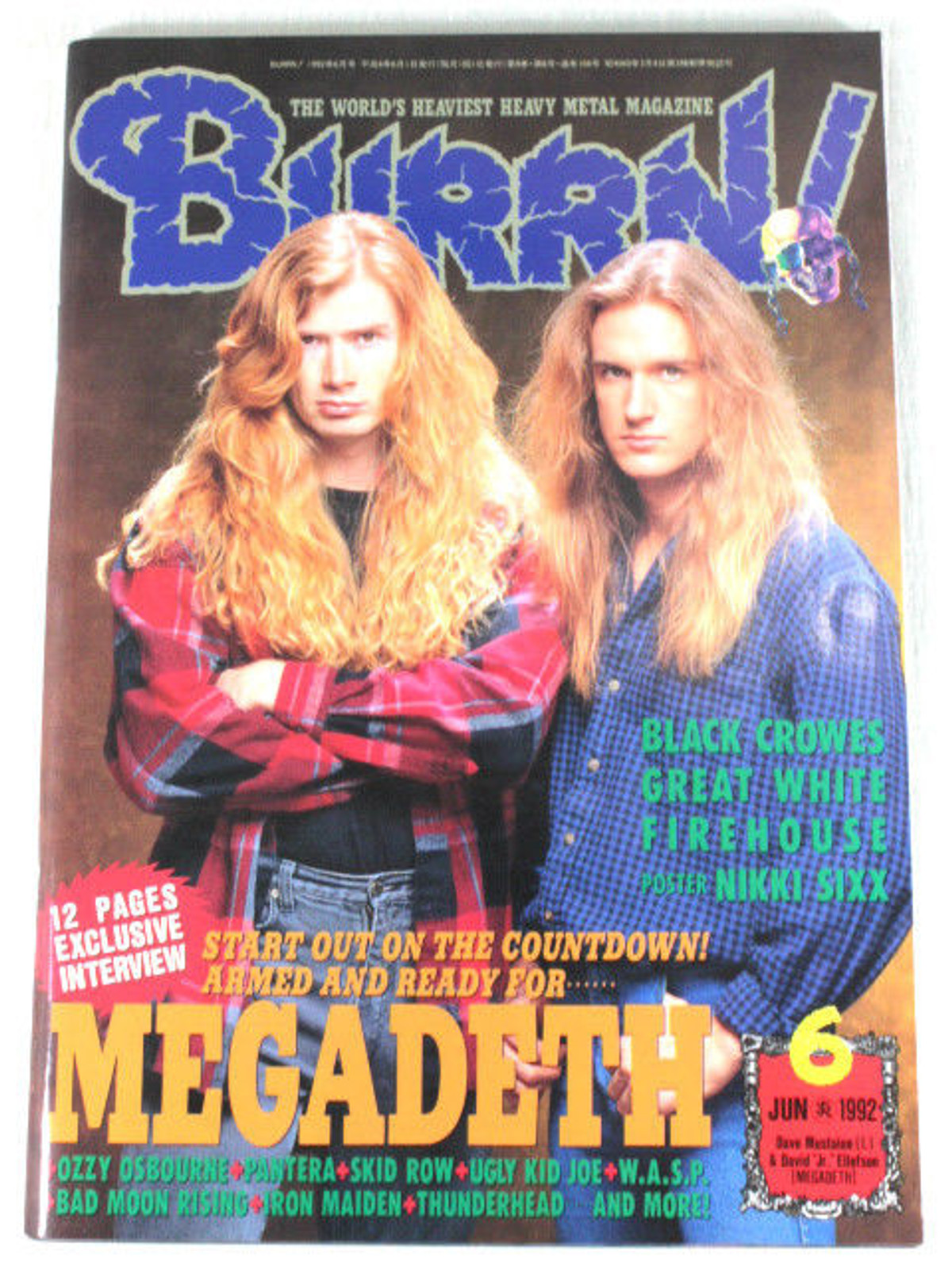 1992/06 BURRN! Japan Rock Magazine MEGADETH/BLACK CROWS/PANTERA/FIREHOUSE