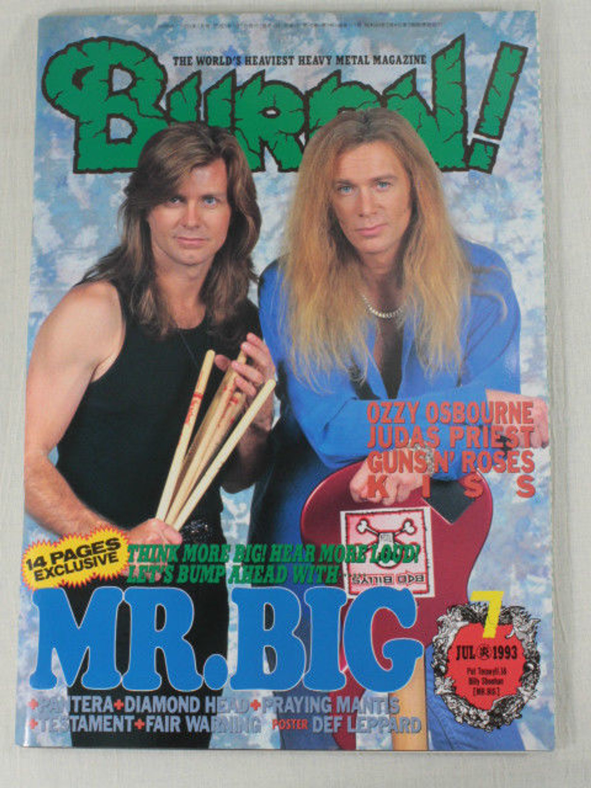1993/07 BURRN! Japan Rock Magazine MR.BIG/KISS/PANTERA/OZZY OSBOURNE/DEF LEPPARD