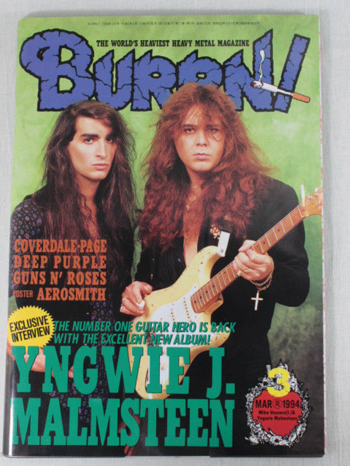 1994/03 BURRN! Japan Rock Magazine YNGWIE MALMSTEEN/BLUE MURDER/GUNS N' ROSES