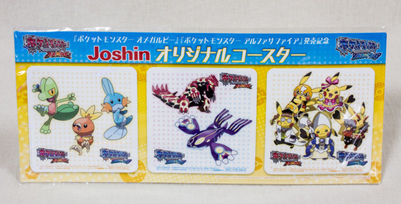 Pokemon Joshin Original Paper Coaster Pocket Monster Sapphire Omega Ruby JAPAN
