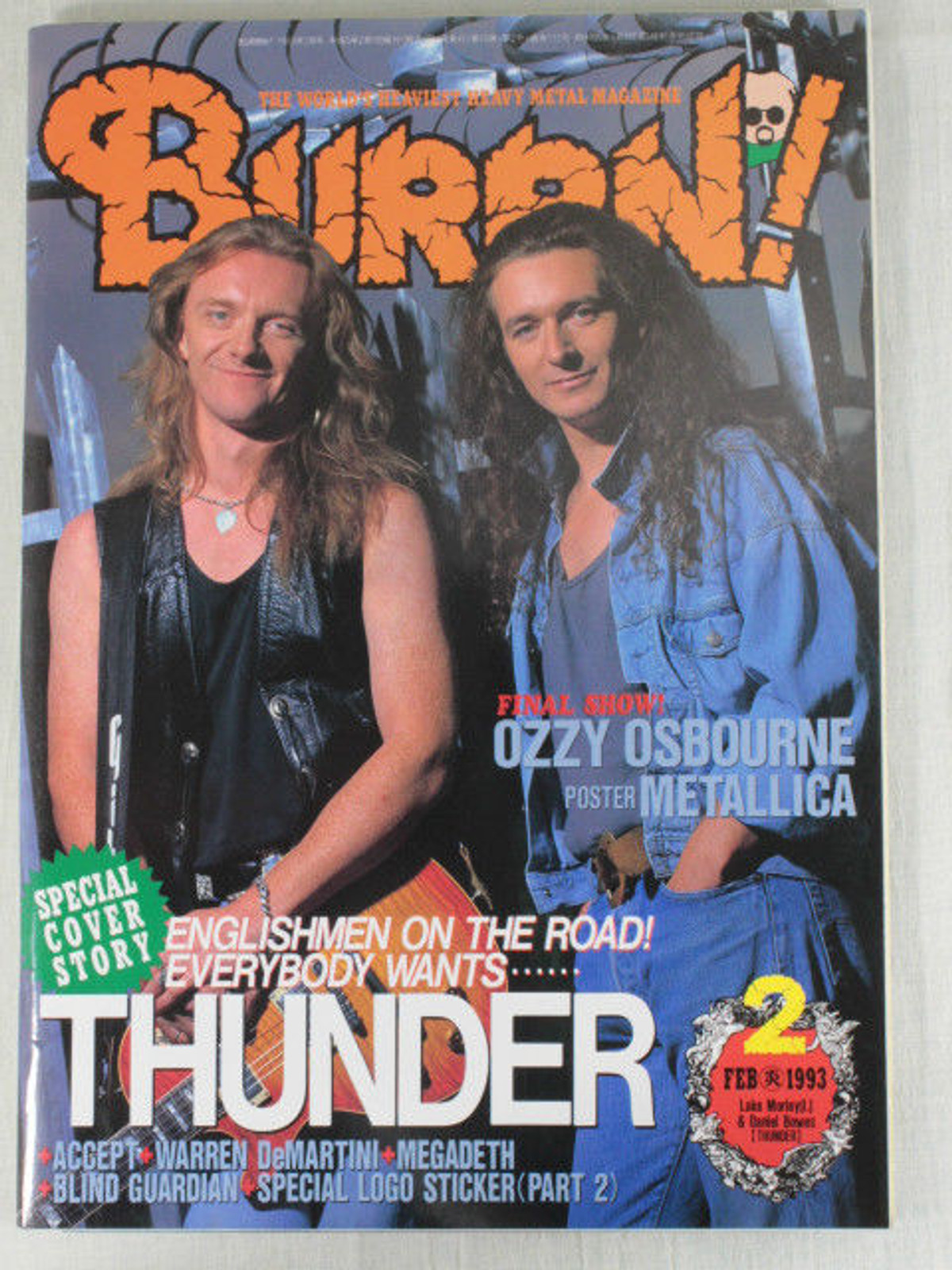 1993/02 BURRN! Japan Rock Magazine THUNDER/DREAM THEATER/EXTREME/BLIND GUARDIAN