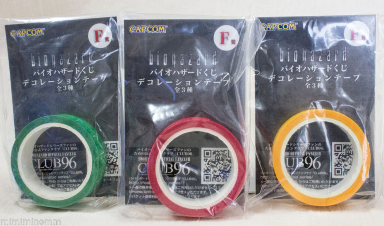 Set of 3 colors Biohazard Decoration Tape Capcom JAPAN GAME RESIDENT EVIL