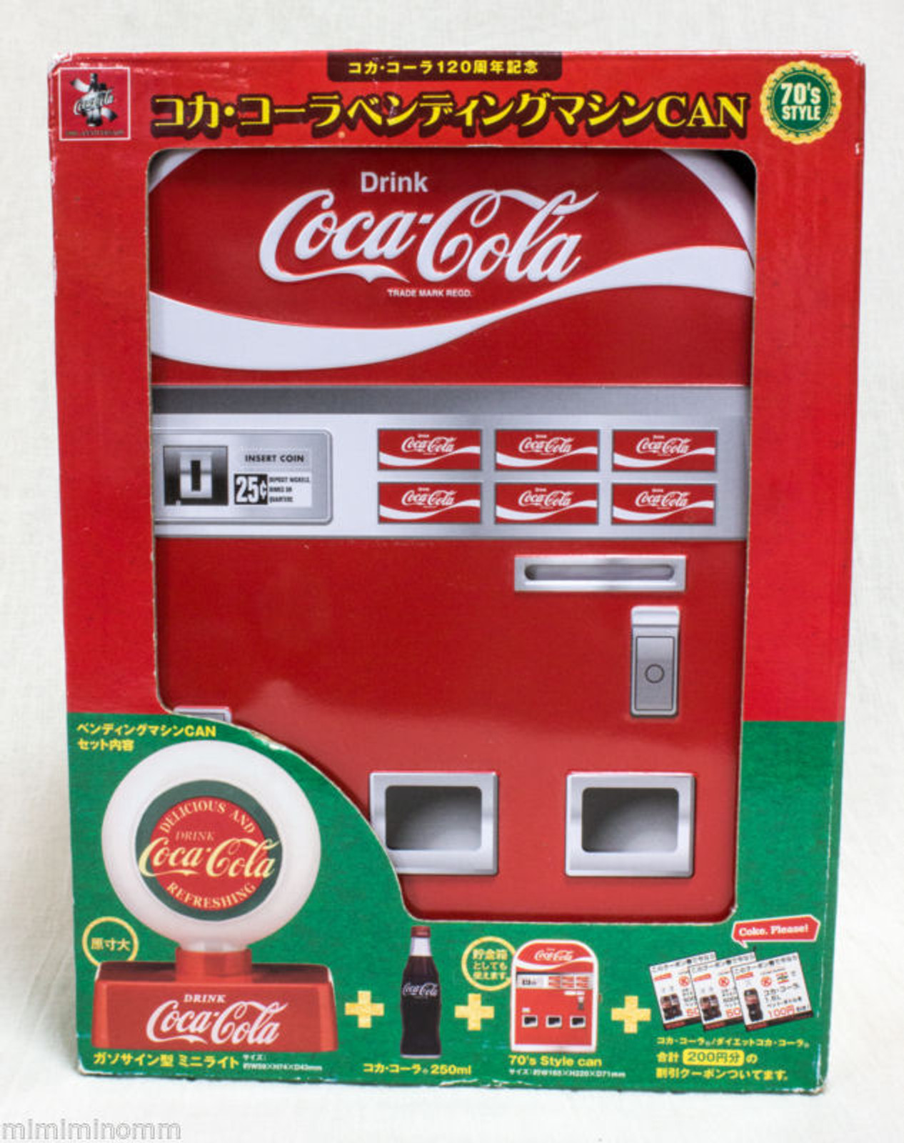 Coca-Cola Vending Machine Miniature 70's Ver. + Gasosain type Mini Light JAPAN