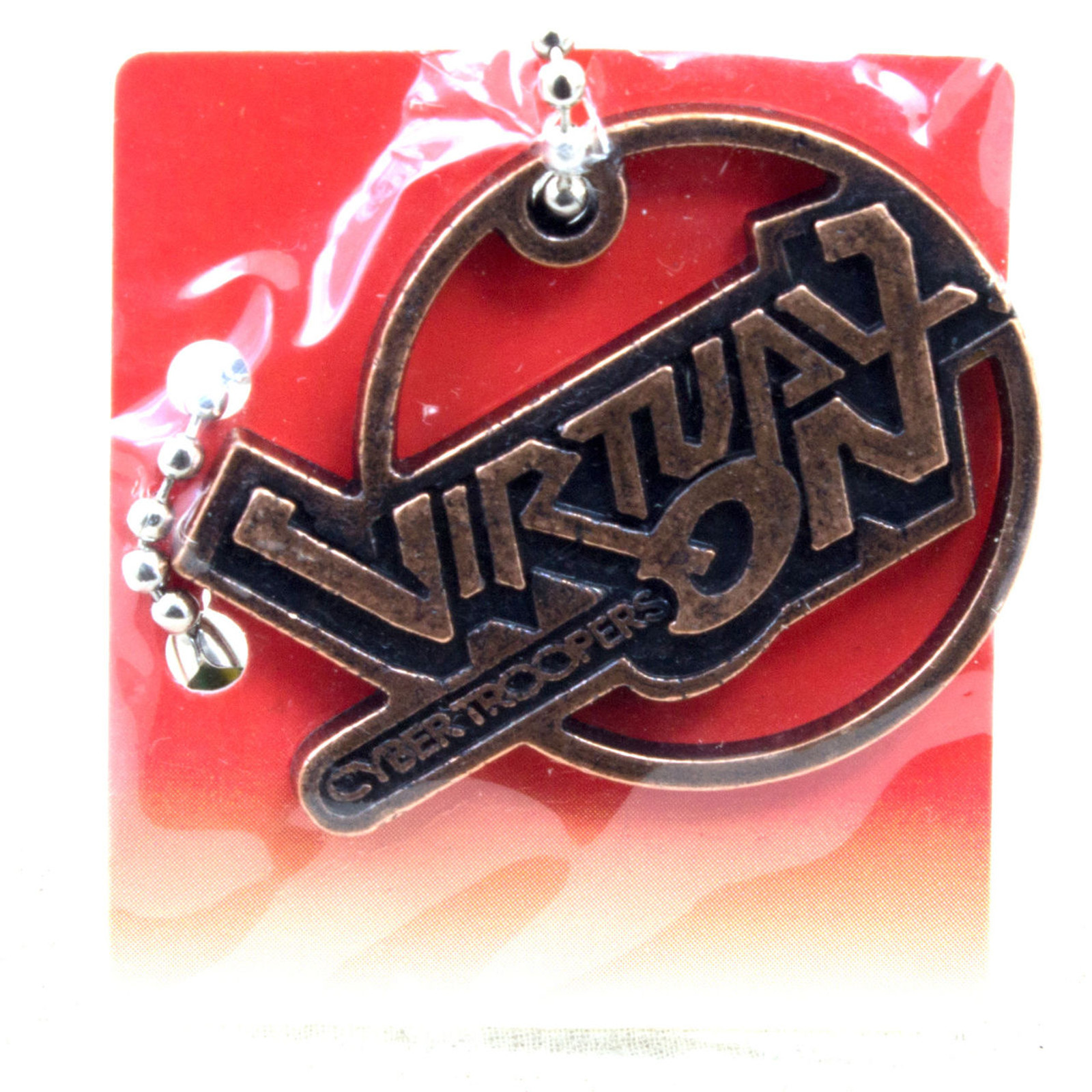 SEGA Logo Metal Plate Ball Chain Cyber Troopers Virtual-on Copper JAPAN GAME