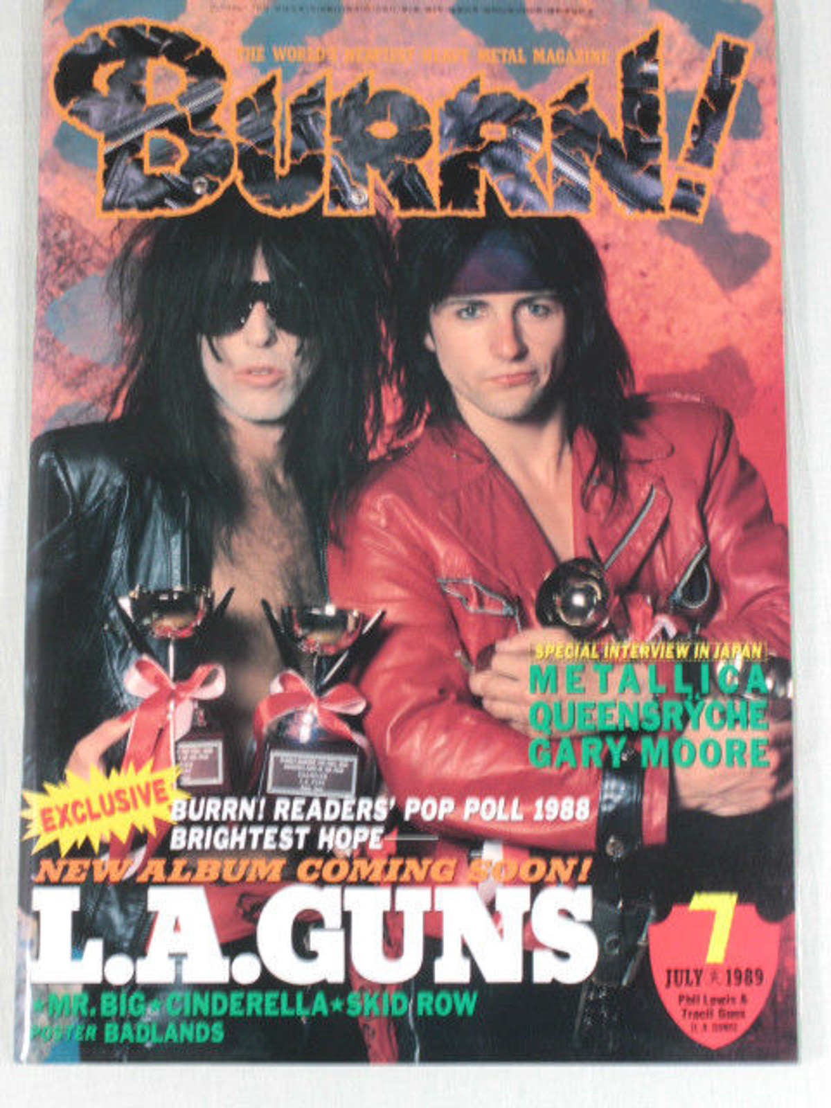 1989/07 BURRN! Japan Rock Magazine L.A.GUNS/METALLICA/MR.BIG/SKID ROW/BADLANDS