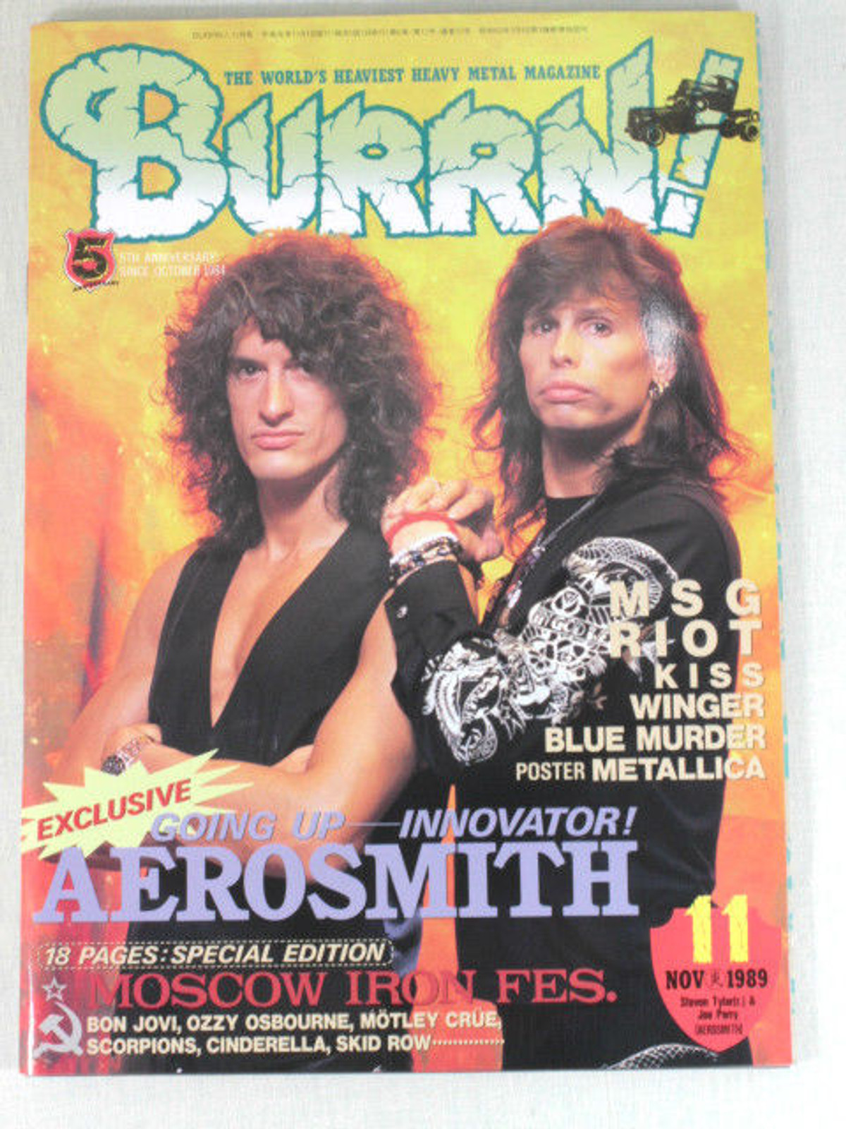 1989/11 BURRN! Japan Rock Magazine AEROSMITH/MSG/RIOT/KISS/WINGER/BLUE MURDER