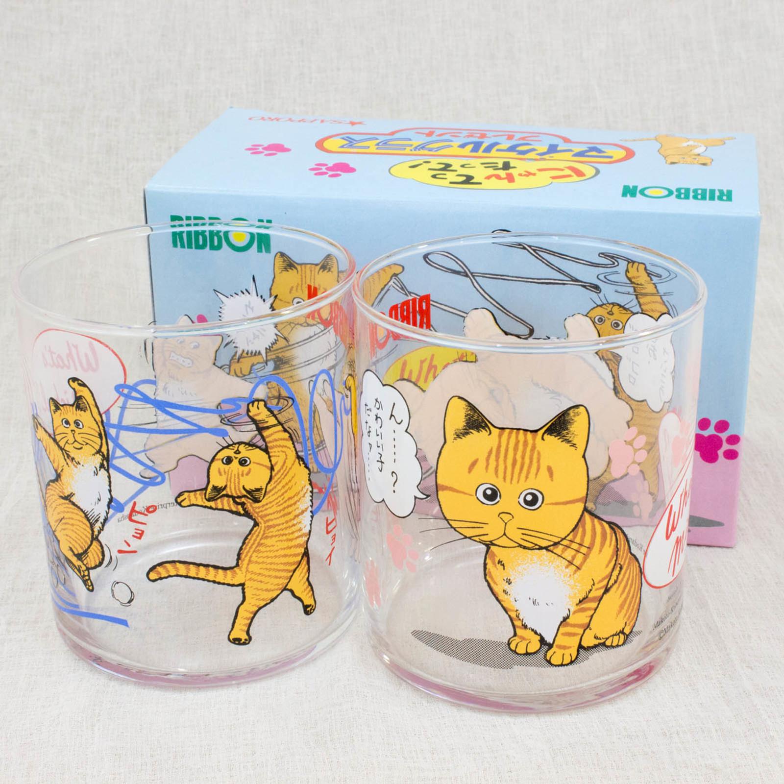 RARE! What's Michael ? Glass 2pc Set Sapporo Makoto Kobayashi JAPAN ANIME MANGA