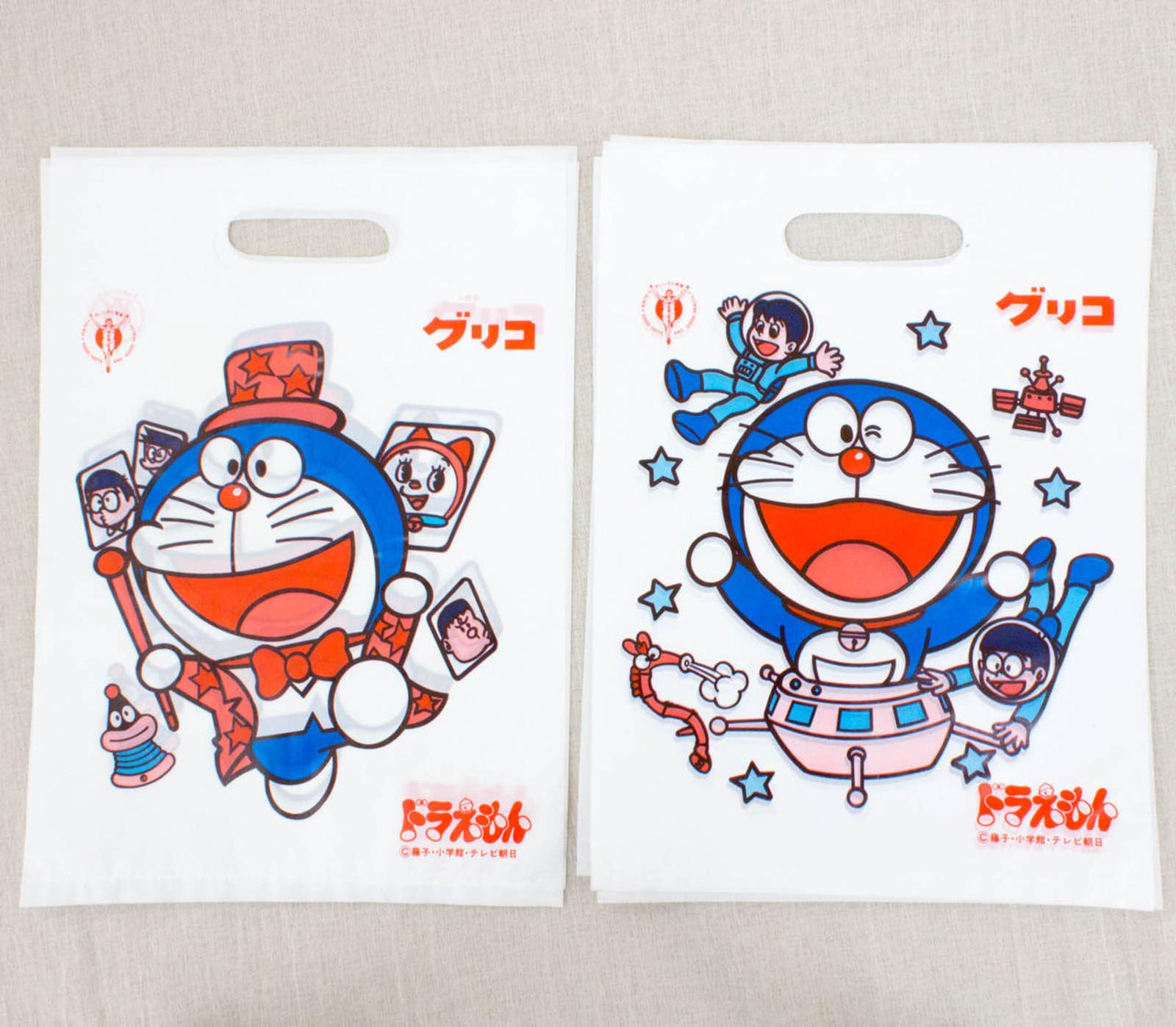 Retro RARE! Doraemon Glico Plastic Bag 10pc Set JAPAN ANIME MANGA