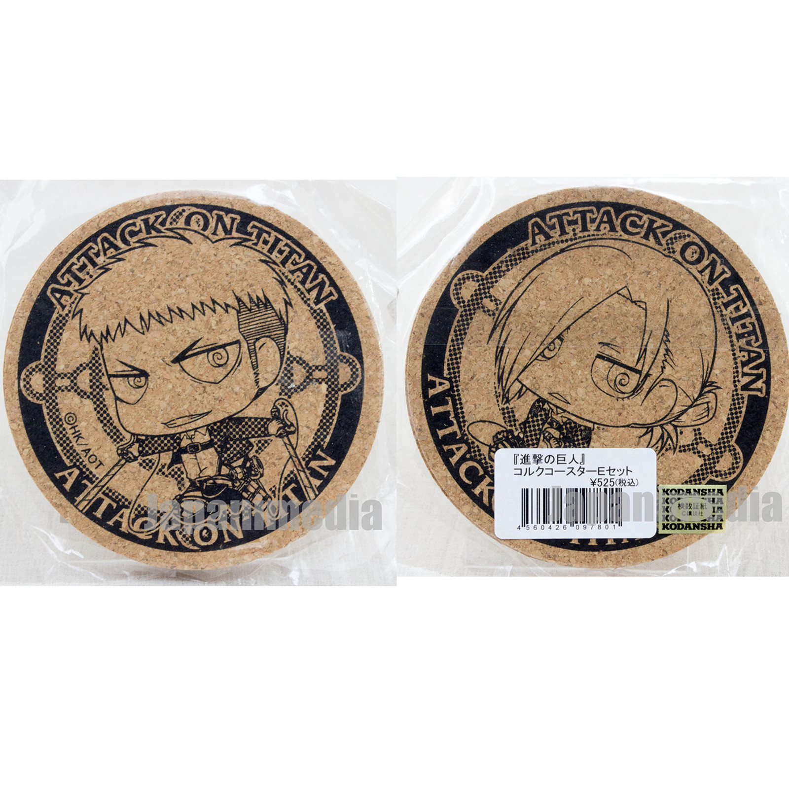 Attack on Titan Cork Coaster 2pc set Jean Kirstein & Annie Leonhart JAPAN ANIME