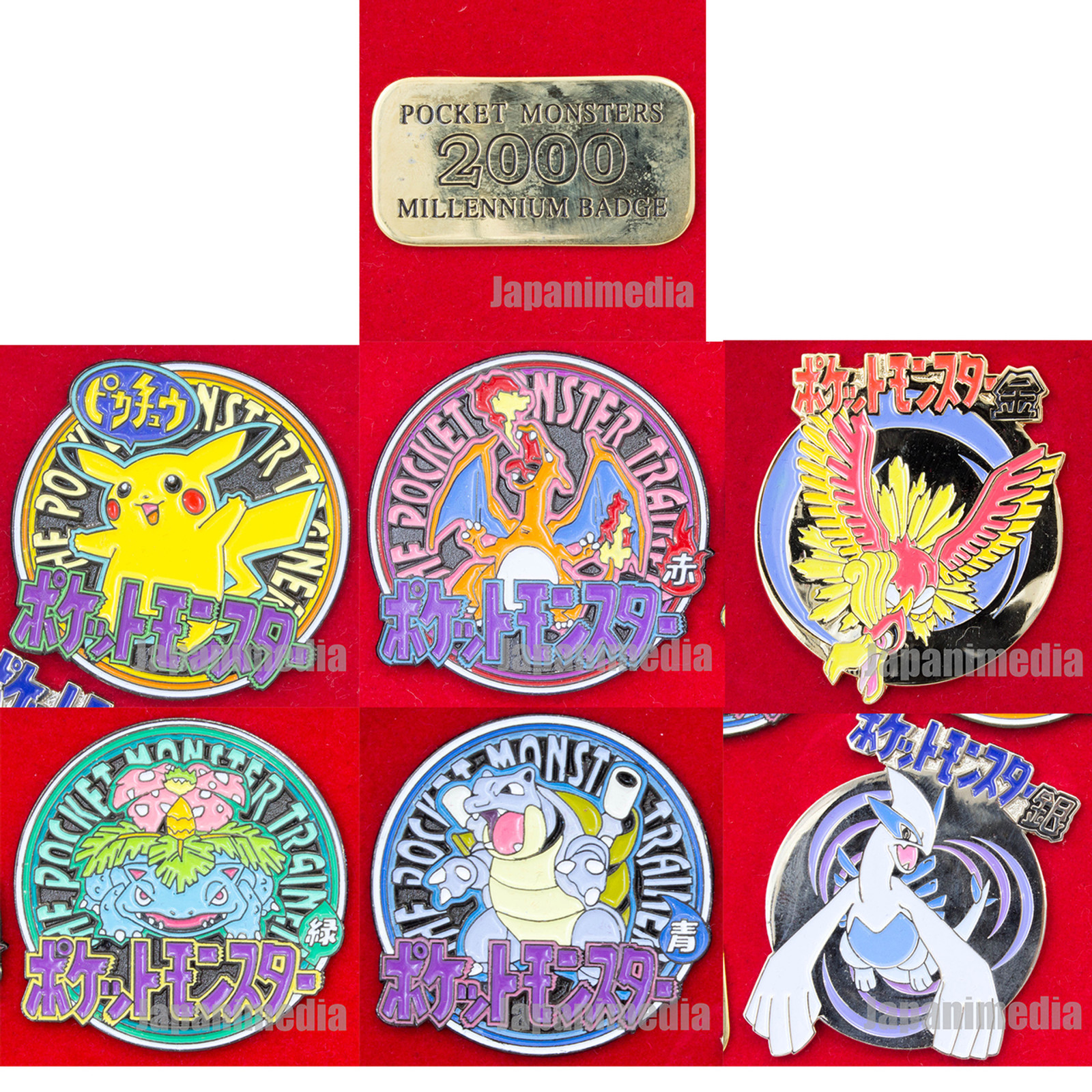 Pokemon Metal Pins 6pc Set 2000 Millennium Badge Pocket Monsters Pikachu JAPAN