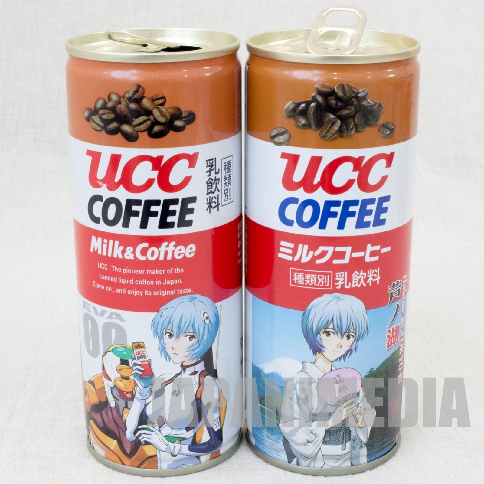 Set of 2 Evangelion UCC Steel Can Coffee Rei Ayanami