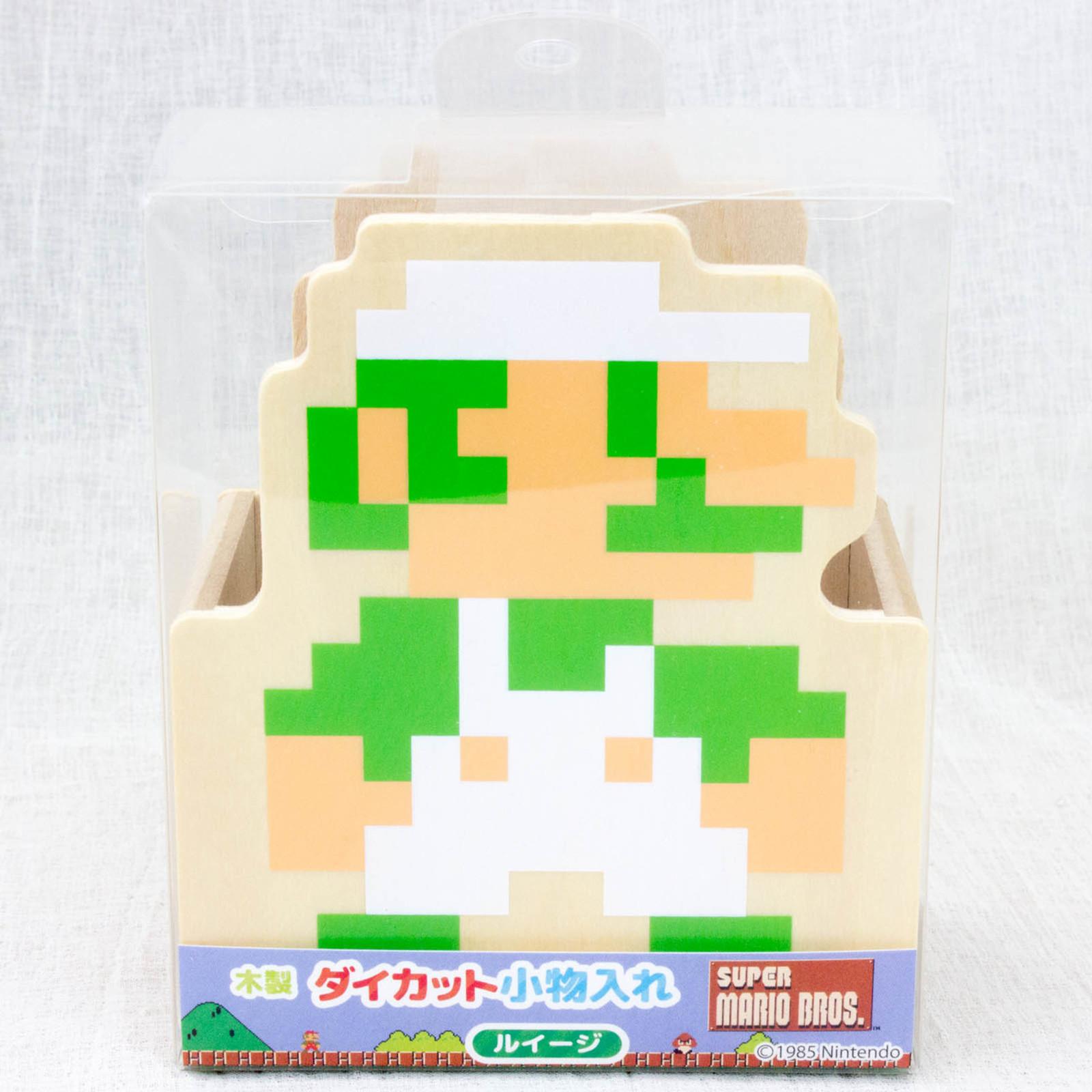 Super Mario Bros. 8bit Luigi Die cutting Wooden Accessory Case JAPAN FAMICOM