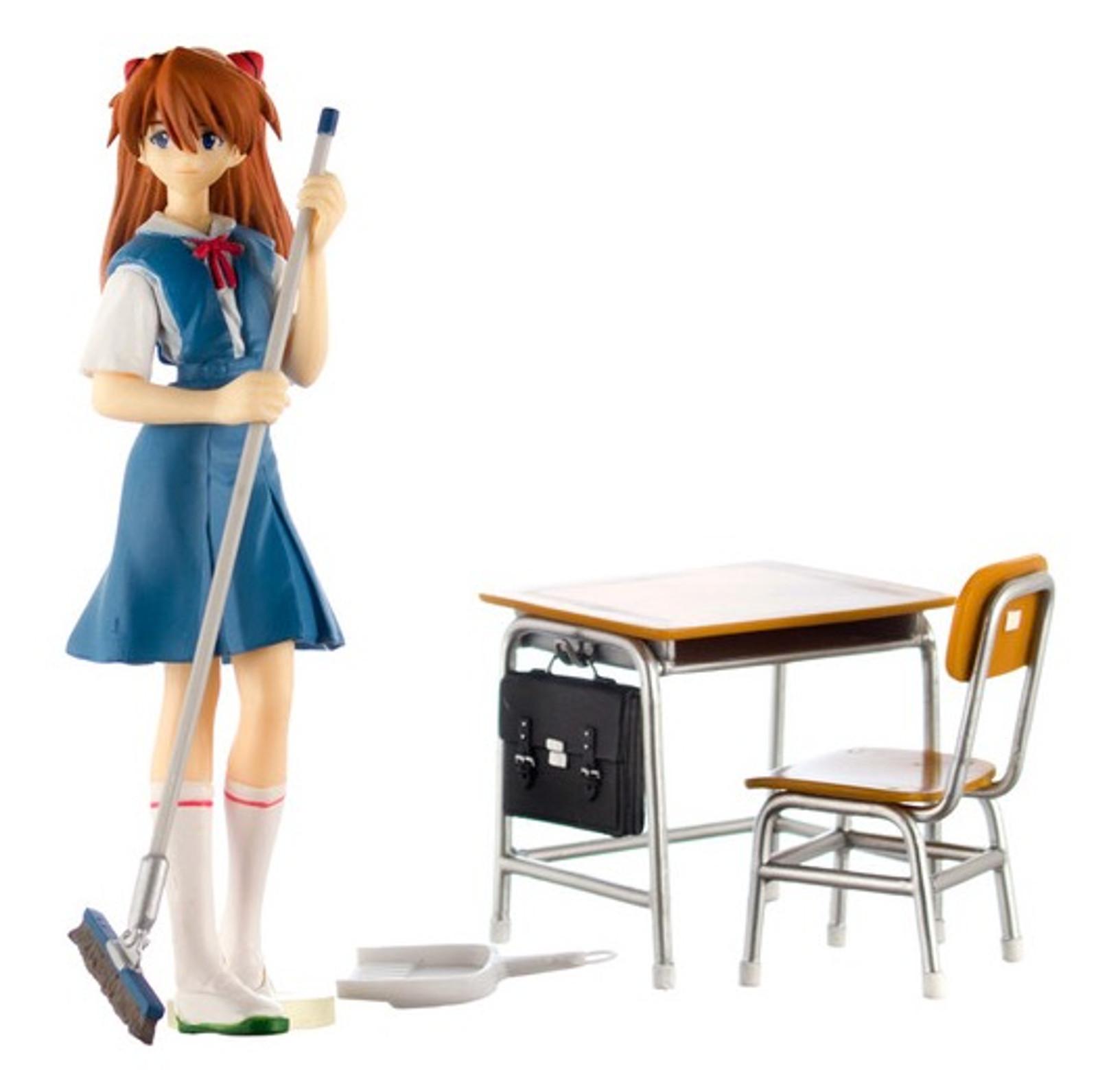 Evangelion Asuka Langley Cleaning Time Class Room Diorama Figure Set SEGA JAPAN