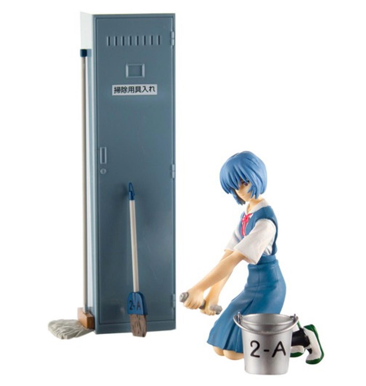 Evangelion Rei Ayanami Cleaning Time Class Room Diorama Figure Set SEGA JAPAN