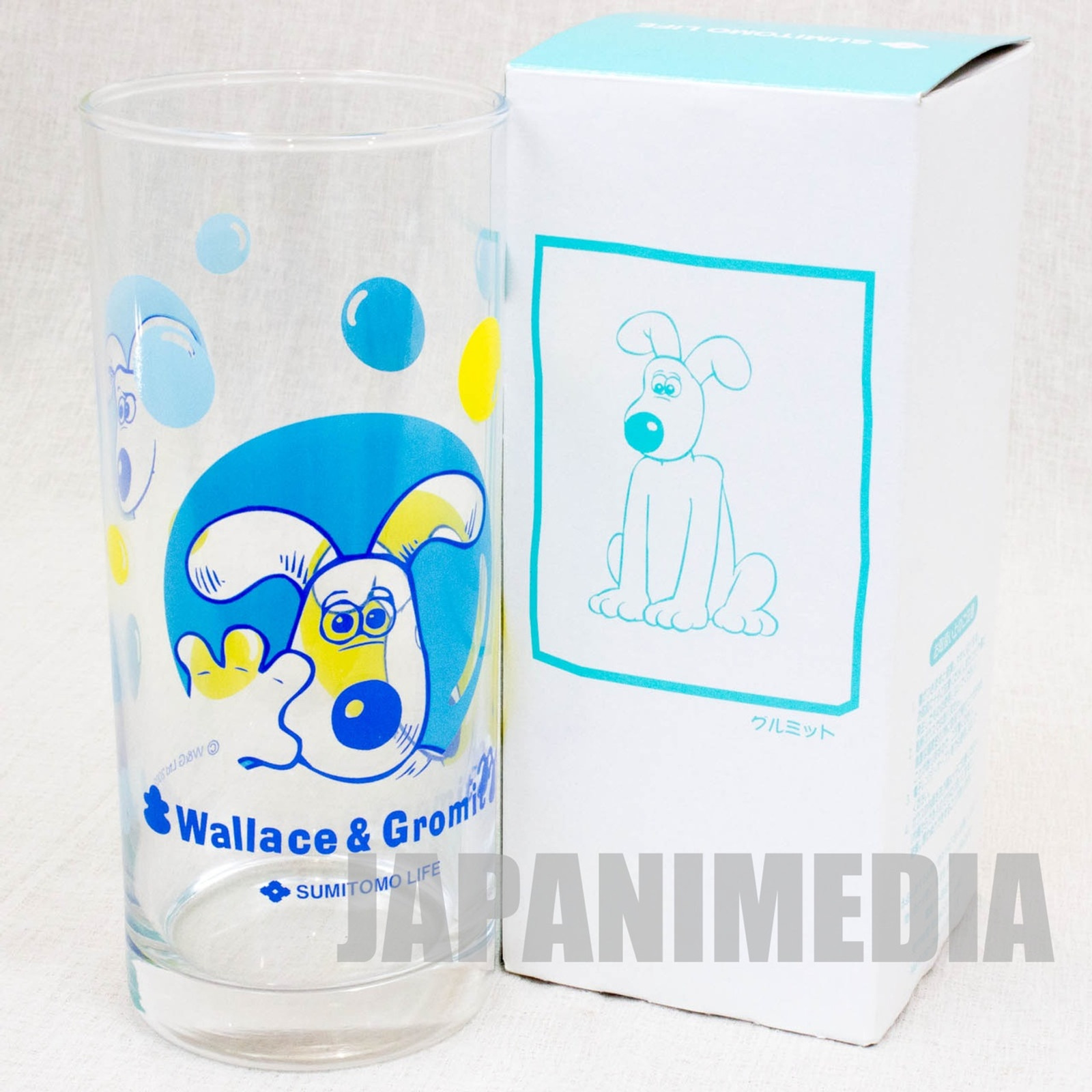 Wallace & Gromit Glass Blue ver. Sumitomo Life Novelty JAPAN Ardman ANIME