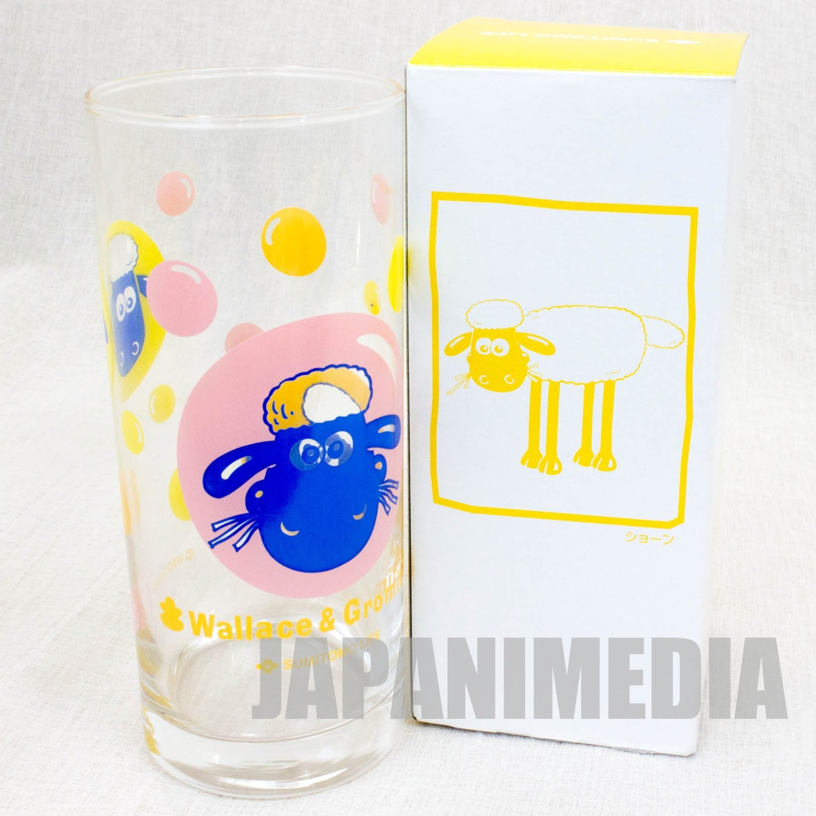 Wallace & Gromit Glass Yellow ver. Sumitomo Life Novelty JAPAN Ardman ANIME