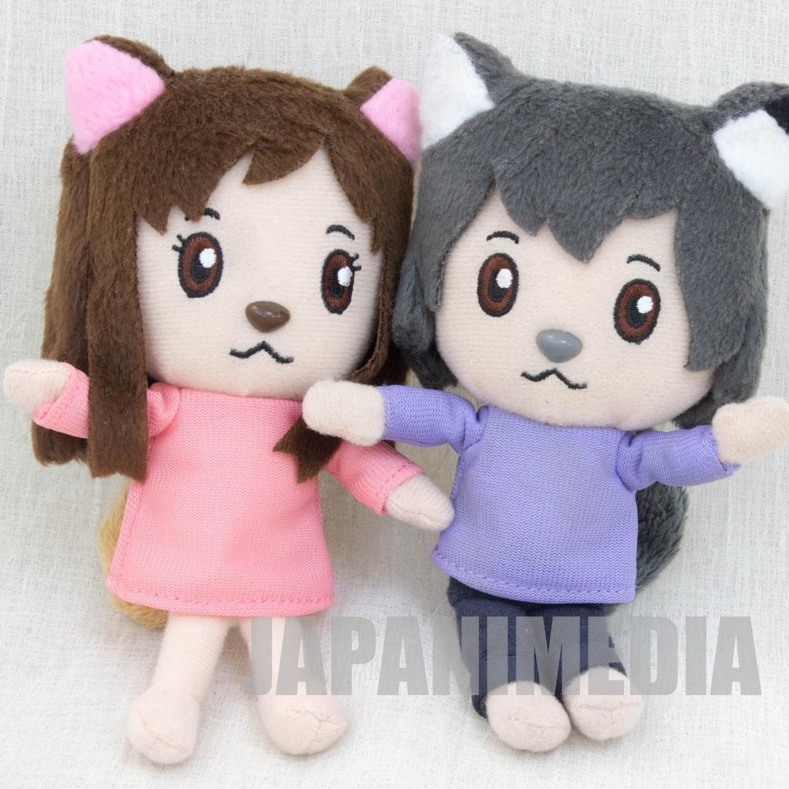 RARE! Wolf Children Ame and Yuki Mini Plush Doll Set JAPAN ANIME Ookami Kodomo