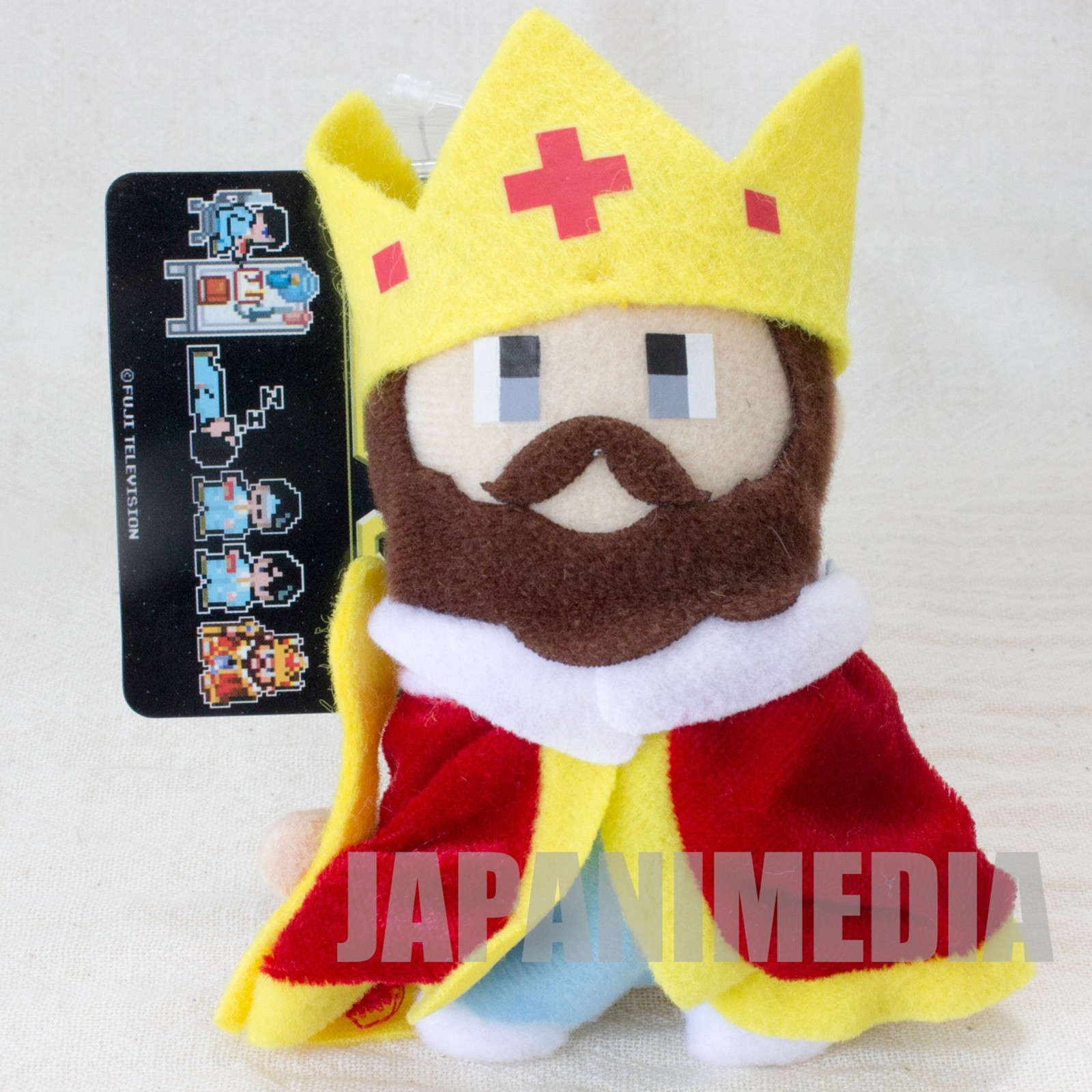 RARE Game Center CX KING Mini Plush Doll Ballchain Fuji Television Arino Kacho