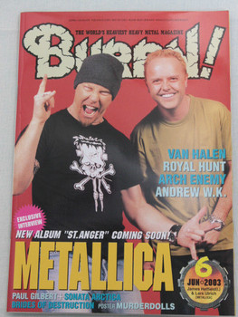 2003/06 BURRN! Japan Magazine METALLICA/ARCH ENEMY/HAMMER FALL/ANDREW W.K./SIXX