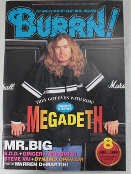1999/08 BURRN! Japan Rock Magazine MEGADETH/S.O.D./DYNAMO OPEN AIR/GINGER/VAI
