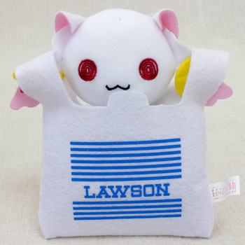 Puella Magi Madoka Magica Kyubey in Lawson Bag Mini Plush Doll JAPAN ANIME