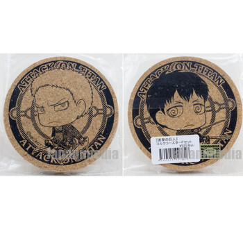 Attack on Titan Cork Coaster 2pc set Reiner Braun & Bertolt Hoover JAPAN ANIME