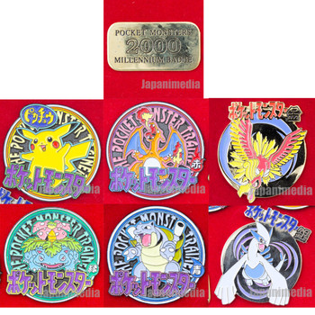 Pokemon Metal Pins 6pc Set 2000 Millennium Badge Pocket Monsters Pikachu JAPAN