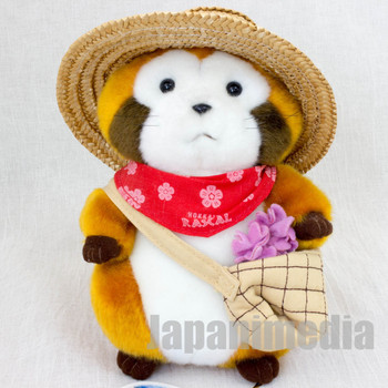 RARE Rascal the Raccoon Flower Basket Hokkaido Limited Plush Doll Figure JAPAN