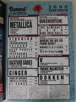 2000/02 BURRN! Japan Rock Magazine METALLICA/BACKYARD BABIES/VALENSIA/KORN