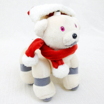 """AIBO Ivory 7"""" Chirstmas Santa Ver. Plush Doll Figure Official Goods JAPAN SONY"""