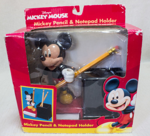 Disney Mickey Mouse Figure Pencil&Notepad Holder Item#25525 Monogram