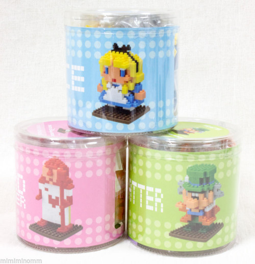 Set of 3  Alice in Wonderland Nanoblock Nano Tokyo Disneyland JAPAN FIGURE