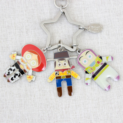 Disney Pixar Toy Story Woody Buzz Jessie Metal Plate Mascot Keychain JAPAN