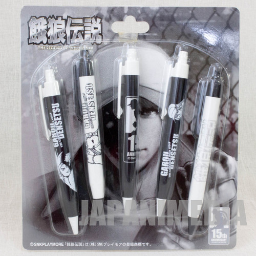 Retro RARE! Fatal Fury Ballpoint Pen 5pc Set 15th Anniversary SNK Playmore JAPAN