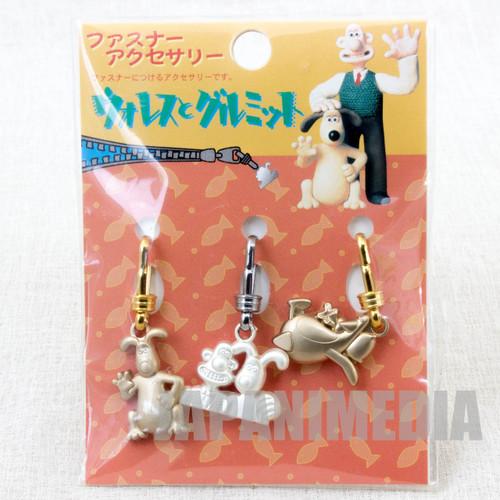Wallace & Gromit Fastener Mascot Accessory 3pc Set A JAPAN Ardman ANIME