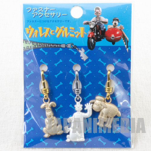 Wallace & Gromit Fastener Mascot Accessory 3pc Set B JAPAN Aardman ANIME