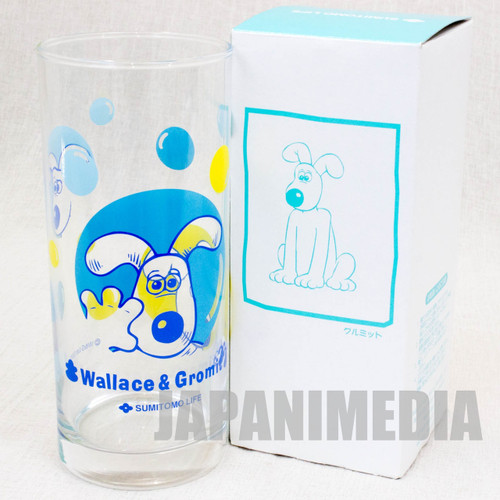 Wallace & Gromit Glass Blue ver. Sumitomo Life Novelty JAPAN Ardman ANIME