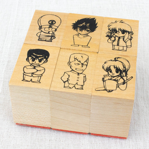 Yu Yu Hakusho Stamp 6pc Set Yusuke Hiei Kurama Koenma Kuwabara Botan JAPAN