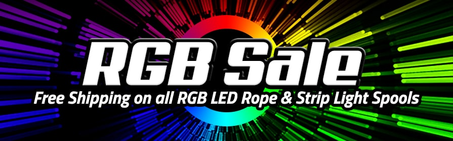 Free Shipping on spools of RGB LED Rope & Strip Lights!