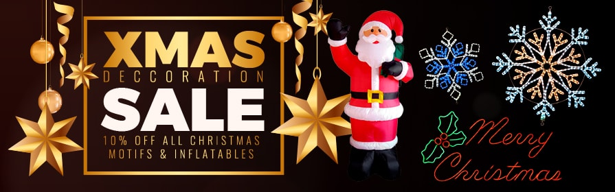 Christmas Decoration Sale - Save 10% on Christmas Rope Light Motifs and LED Christmas Inflatables!