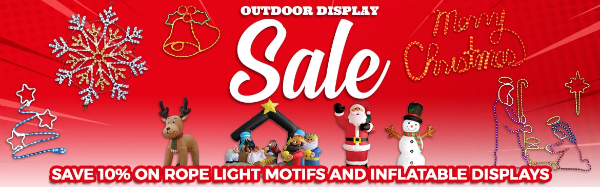Outdoor Display Sale - Save 10% on Rope Light Motifs and LED Christmas Inflatables!