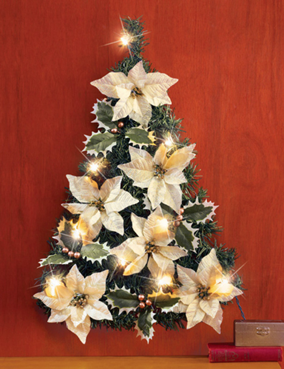poinsettia christmas tree wall decoration - Poinsettia Christmas Tree Decorations