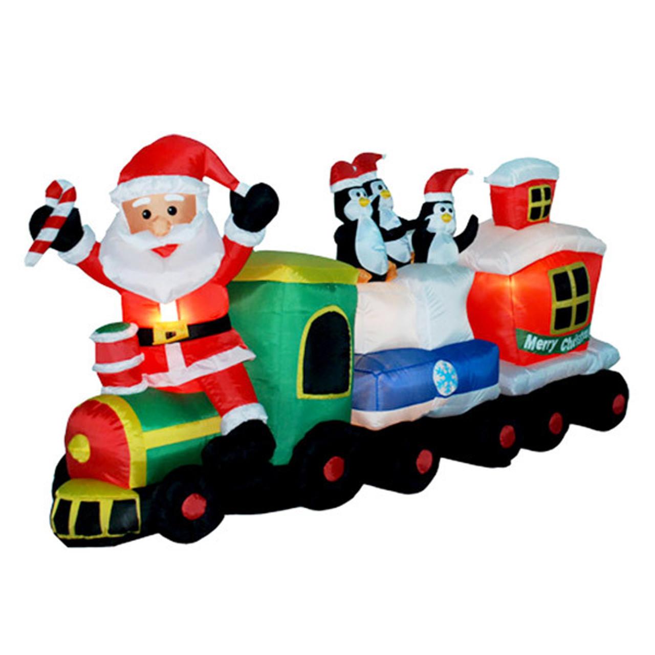 7 foot long santa train led christmas inflatable