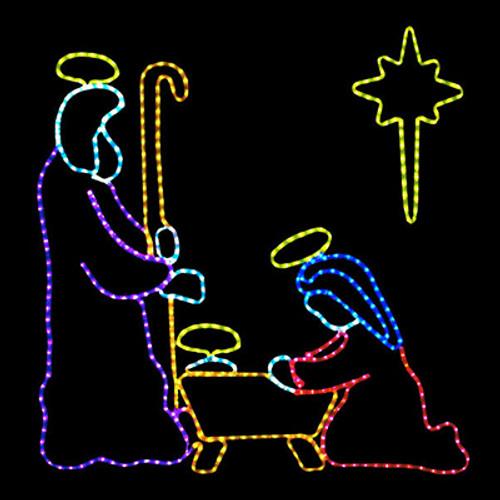 4 foot multi color led rope light nativity manger scene motif 4 foot multi color led rope light nativity manger scene motif aloadofball Choice Image