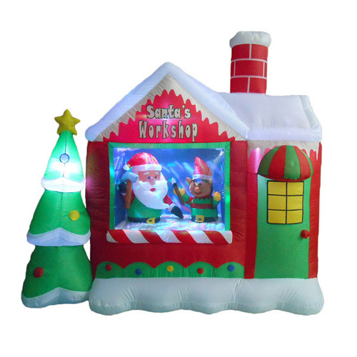 6 Foot Santa's Workshop with Elf LED Christmas Inflatable