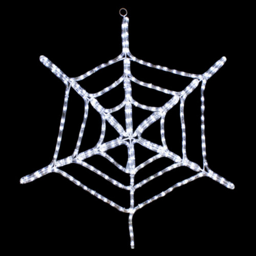 29 Inch Cool White LED Rope Light Halloween Spider Web Motif