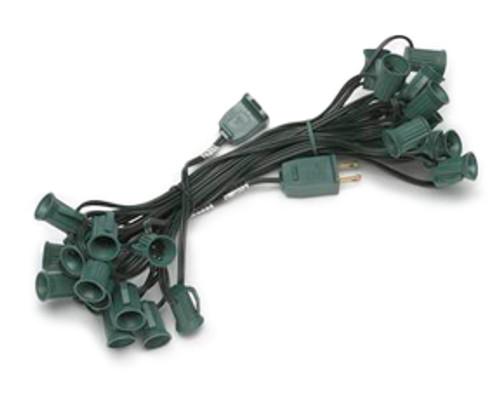25 Foot C7 SPT2 10 Amp Green String Light - 12 Inch Spacing
